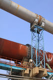 Rotary kiln waste heat recovery equipment in a cement factory. North china stock photography