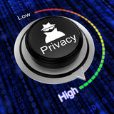 Rotary knob increase privacy cybersecurity concept Stock Photos