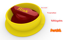 Rotary knob with the word risk in yellow Stock Images