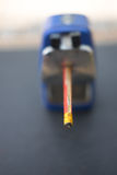 Rotary pencil sharpener with pencil Royalty Free Stock Photography