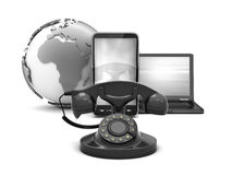Rotary phone, cell phone and laptop as communication symbols Stock Images