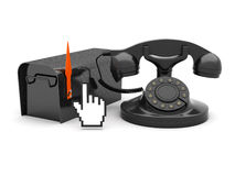 Rotary phone, mailbox and cursor hand Royalty Free Stock Image