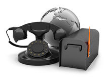 Rotary phone, mailbox and earth globe Royalty Free Stock Photo