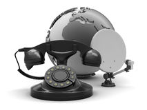 Rotary phone, satellite antenna and globe Royalty Free Stock Photo