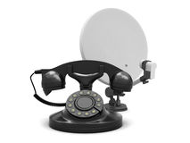 Rotary phone and satellite antenna Royalty Free Stock Images