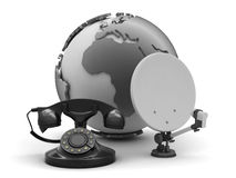 Rotary phone, satellite and earth globe Stock Image