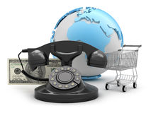Rotary phone, shopping cart and dollar bills Stock Photography