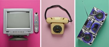 Rotary retro phone , tv, tape recorder on a colored pastel background. Hot line. Helpli. Rotary retro phone , tv, tape recorder on a colored pastel background Royalty Free Stock Photography