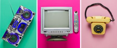 Rotary retro phone, tv, tape recorder on pastel background. Top view. Rotary retro phone, tv, tape recorder on pastel background. Top view royalty free stock images