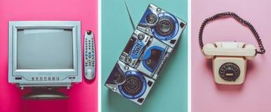Rotary retro phone, tv, tape recorder on pastel background. Top view. Rotary retro phone, tv, tape recorder on pastel background. Top view stock photography