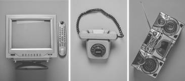 Rotary retro phone, tv, taperecorder on pastel background. Top view. Rotary retro phone, tv, taperecorder on pastel background. Top view royalty free stock photography