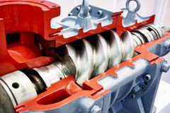 Rotary spiral pump for oil. In section royalty free stock photo