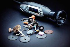 Rotary tools with accessory Royalty Free Stock Photos