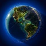 Rotas globais principais da aviação sobre Fotografia de Stock