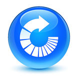 Rotate arrow icon glassy cyan blue round button Royalty Free Stock Image