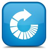 Rotate arrow icon special cyan blue square button Royalty Free Stock Image
