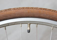 Rotate direction on bike wheel with valve Royalty Free Stock Photos