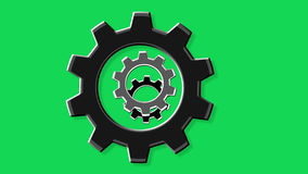 Rotate gears green screen stock video