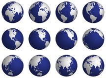 Rotate_globe. Turning planet the earth on a white background for animation Stock Photo