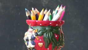 Rotate set colorful pencil in decorative new year  vase stock footage