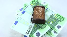 Rotate trunk full of 100 euro banknotes stock footage