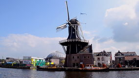 Rotated Adriaan windmill in Haarlem, Netherlands, Stock Images