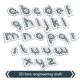 Rotated constructor dimensional script, vector letters Stock Images