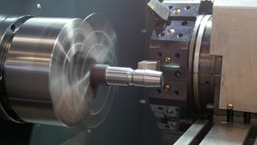 Rotated mechanism - automatic for machine processing of metal, industrial background stock video