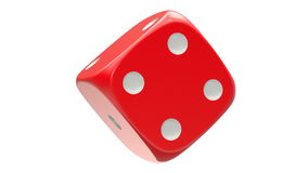 Rotated red dice, seamlessly loopable stock video