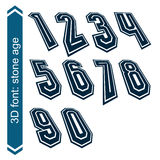Rotated smooth dimensional numbers, vector Royalty Free Stock Images