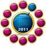 Rotating 2011 calendar. In 3d buttons Royalty Free Stock Photos
