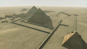 Rotating above a 3D animation of the Giza platform Egypt. Loop-able