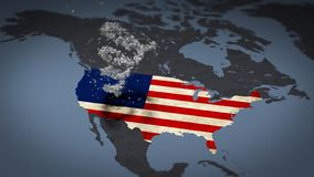 Rotating American flag stars map view covered with american flag. Rotating American flag stars on the continent of north america map view covered with american vector illustration