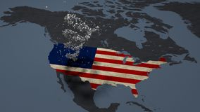 Rotating American flag stars map view covered with american flag. Rotating American flag stars on the continent of north america map view covered with american royalty free illustration