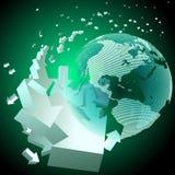 Rotating arrows around the globe. Vector illustration of a cloud of moving arrows around the globe Stock Photo