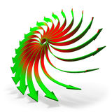 Rotating arrows concept. Conceptual rotating red to green gradient 3d arrows  on white background Stock Photos
