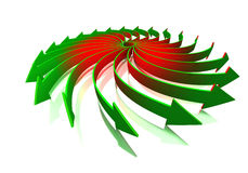 Rotating arrows concept. Conceptual rotating red to green gradient 3d arrows  on white background with reflections Stock Images