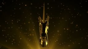 Golden unicorn on sparkling background. Rotating award statue unicorn in gold on lens flares and moving particles background. For any award ceremony. 3 D royalty free illustration