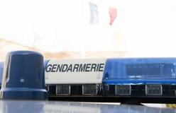 Rotating beacon on gendarmerie vehicle Royalty Free Stock Photo
