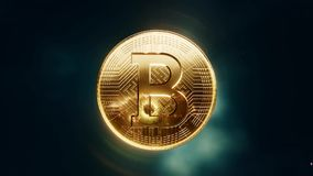 Rotating Bitcoin coin crypto currency stock illustration