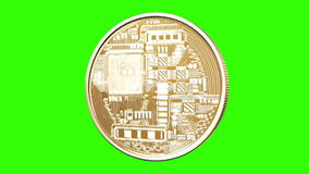 Rotating Bitcoin on a green background stock illustration