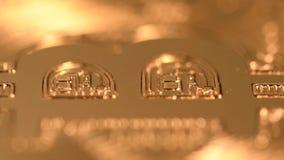 Rotating bitcoin, seamless loop. Bitcoin cryptocurrency rotating seamless loop. Golden crypto coin, macro shot stock footage
