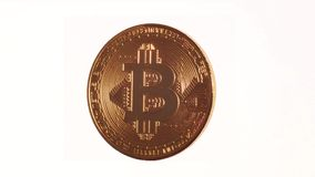 Rotating Bitcoin on a white background royalty free illustration