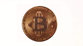 Rotating Bitcoin on a white background