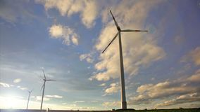 The rotating blades of wind generators. Eco-friendly energy. Production of electricity without harming the nature stock video
