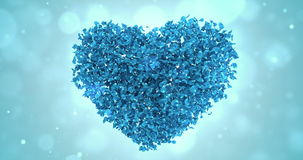 Rotating Blue Rose Flower Petals In Heart Shape Background Loop 4k stock footage