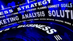 Rotating Business Oriented Blue Words. Rotatyng Business Oriented Words On Blue Background