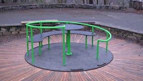Rotating carousel children stock video