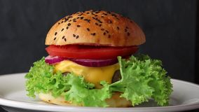 Rotating ceramic plate with fresh homemade burger stock video
