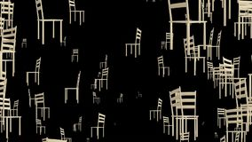 Rotating chairs on black. In backgrounds stock footage